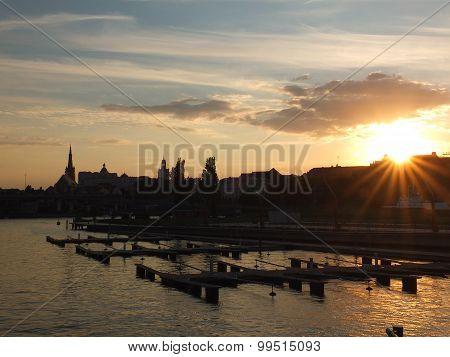 Szczecin in sunset