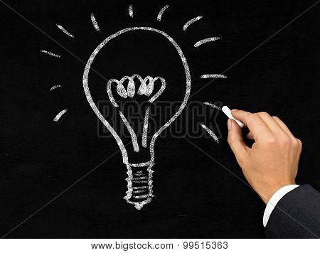 Glowing Lightbulb On Blackboard Drawn By Businessman