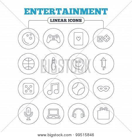 Entertainment icons. Game joystick, microphone.