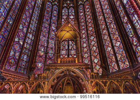 Stained Glass Cathedral Altar Arch Sainte Chapelle Paris France