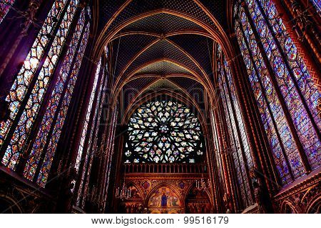 Rose Window Stained Glass Cathedral Ceiling Sainte Chapelle Paris France