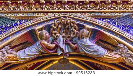 Angels Wood Carvings Arch Cathedral Sainte Chapelle Paris France