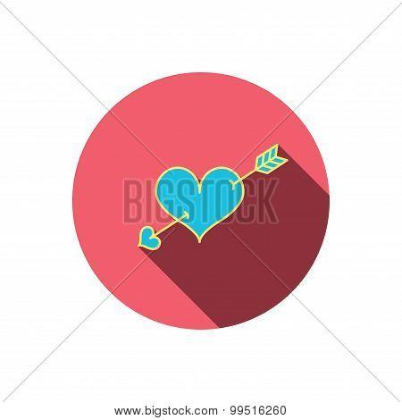 Love heart icon. Amour arrow sign.