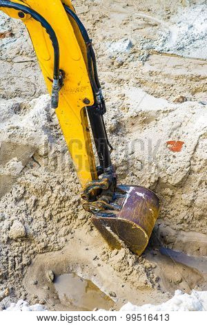 Yellow arm of excavator