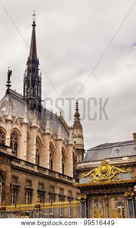 Cathedral Spires Sainte Chapelle Golden Gate Palace Of Justice Paris France
