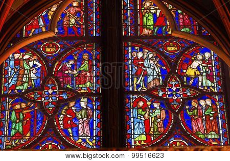 Jesus Crucifixion Story Stained Glass Sainte Chapelle Paris France