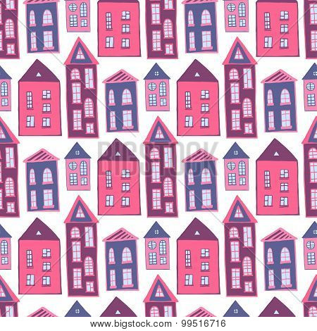 Houses Seamless Pattern. Sweet Pink Girlish Background. Kids Texture
