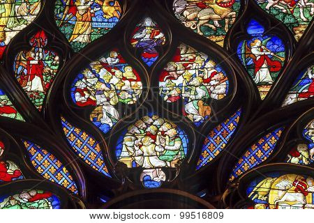 King Louis 9Th Rose Window Stained Glass Sainte Chapelle Paris France
