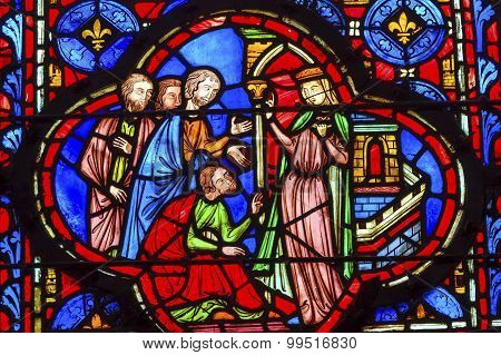 Queen With Followers Stained Glass Sainte Chapelle Paris France