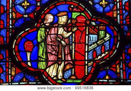 Queen Entering Jerusalem Stained Glass Sainte Chapelle Paris France