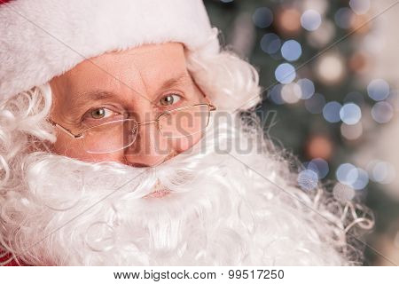 Gorgeous Father Christmas is greeting people positively