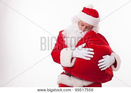 Old friendly Father Christmas is very tired