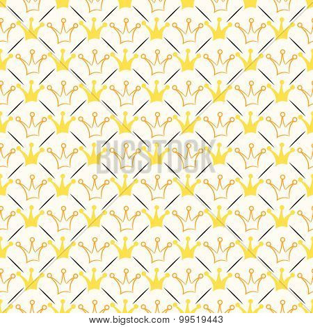 Simple seamless  pattern with crown and line. Orange, whit