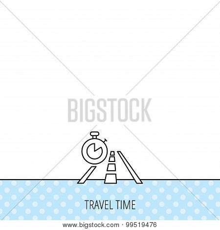 Travel time icon. Road with timer sign.