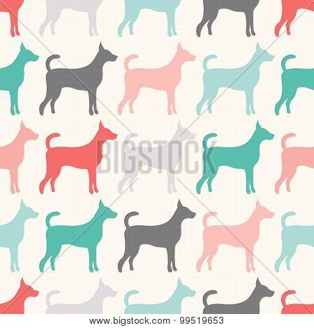 Animal seamless  pattern of dog silhouettes.