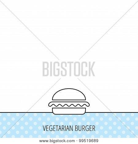 Vegetarian burger icon. Fast food sign.