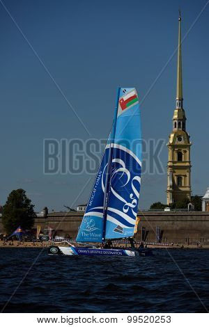 ST. PETERSBURG, RUSSIA - AUGUST 20, 2015: Catamaran of The Wave, Muscat sailing team of Oman during the 1st day of St. Petersburg stage of Extreme Sailing Series. Red Bull Sailing Team won the day
