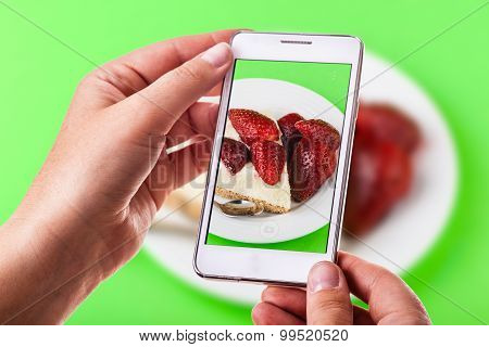 Strawberry Cake Phone Photography