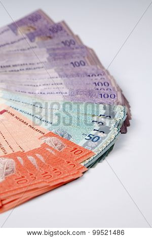malaysia currency on the white background