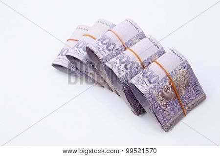 Malaysia one hundred ringgit on the white background