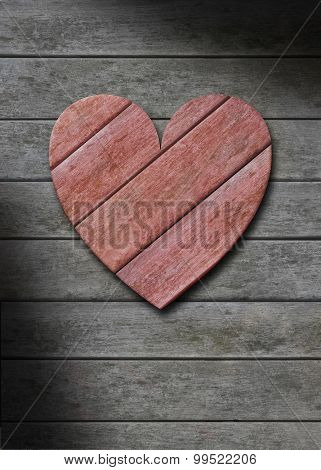 Red Wood Heart On Gray Weathered Wooden Background