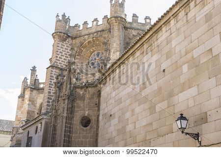 Tourism, majestic facade of the cathedral of Toledo in Spain, beautiful church