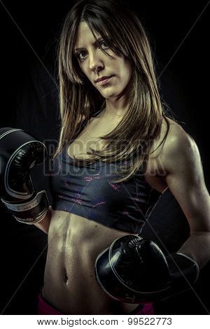 Strength, Beautiful athlete woman with boxing gloves