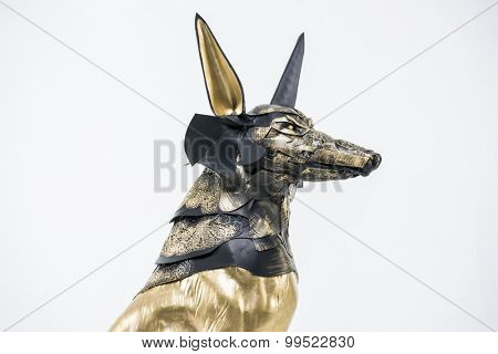Egypt, sculpture of the Egyptian god Anubis, gold figure and black jackal