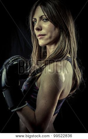 Fighter, Female Athlete with boxing gloves