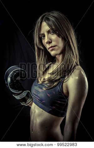 Fitness, Female Athlete with boxing gloves