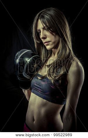 Power, Sexy woman Athlete with boxing gloves