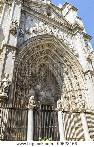 Gate, amazing and beautiful cathedral in Toledo, Spain