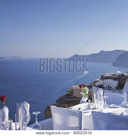 Outdoor Table Facing Aegean Sea