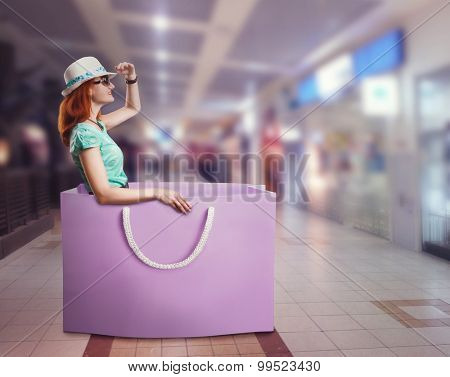 Woman lying in the bag