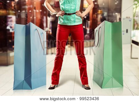 Woman and big shopping bags