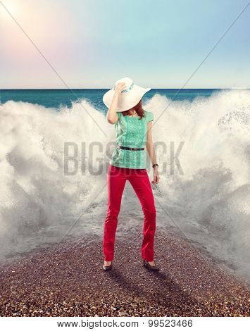 Businesswoman on the beach