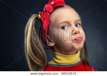 Girl making faces