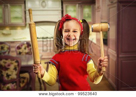 Happy girl with rolling-pin