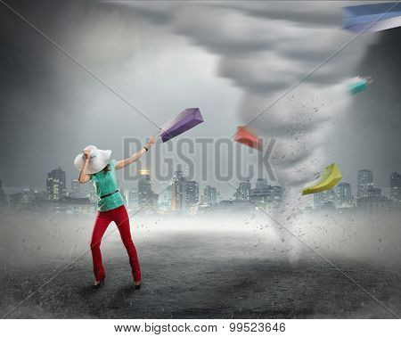 Woman and shopping tornado
