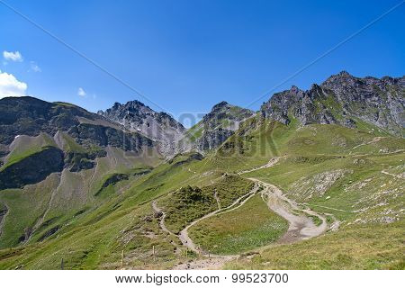 Hiking in the swiss alps: landscape near peak Pizol