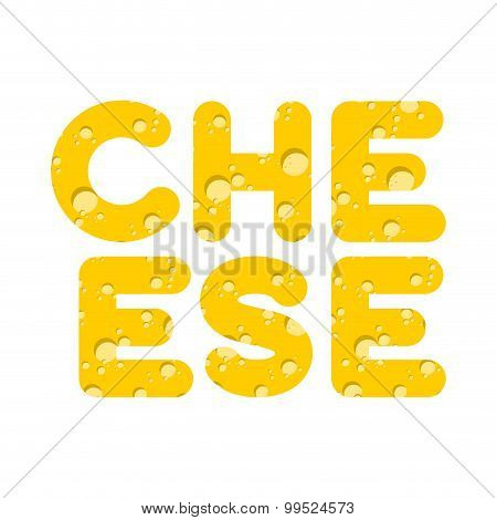 Cheese. Letters Of Yellow Cheese Texture. Vector Illustration