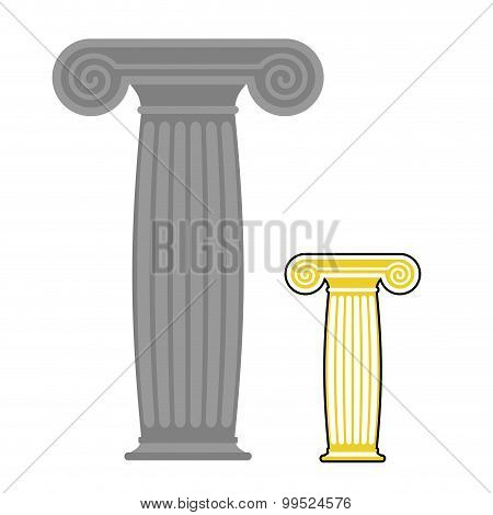 Old Greek Column. Vector Illustration. Ancient Stone High Post