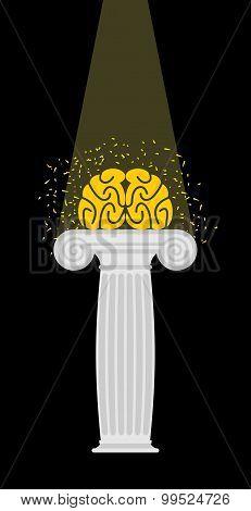 Brain On A Pedestal. Light Falls On  Mind. Enlightenment. Vector Illustration.