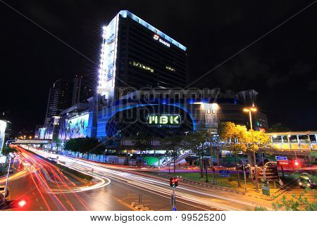 Blur light of Traffic at  MBK Center Thailand