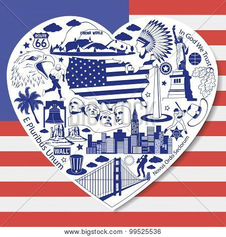 Usa Love. Isolated Set With American Vector Icons And Symbols In Form Of Heart