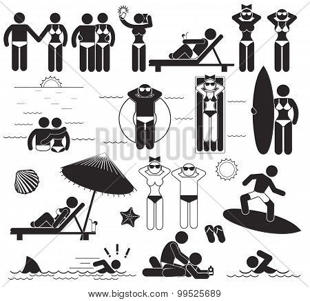 Summer Beach Vacations. Vector Set Stick Pictograms And Symbols Vacations At The Sea