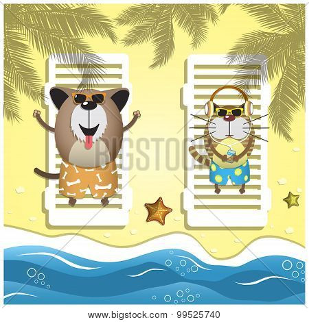 Travel Pets. Vector Illustration With Relax Dog And Cat On The Sand Beach