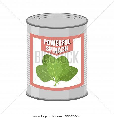 Powerful Spinach. Canned Spinach. Canning Pot With Lettuce Leaves. Delicacy For Vegetarians. Vector