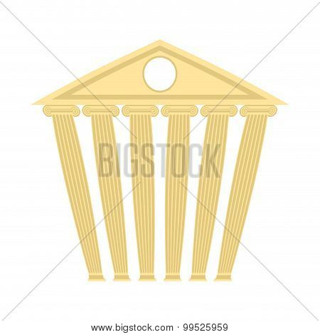 Ancient Antique Building. Building With Columns. Vector Illustration.