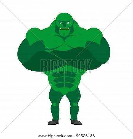 Green Monster Bodybuilder with big muscles. Vector illustration